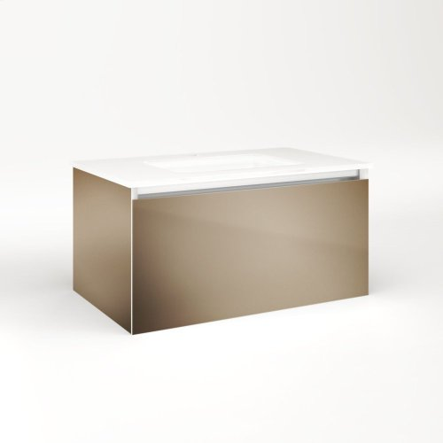 """Cartesian 30-1/8"""" X 15"""" X 18-3/4"""" Slim Drawer Vanity In Satin Bronze With Slow-close Full Drawer and Selectable Night Light In 2700k/4000k Temperature (warm/cool Light)"""