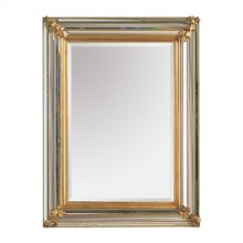 RECTANGULAR MIRROR WITH MULTI- FACETED BORDERED FRAME IN ANT IQUE GOLD FINISH
