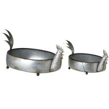 Galvanized Rooster Planter (2 pc. set)