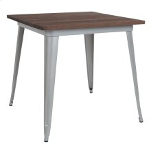 """31.5"""" Square Silver Metal Indoor Table with Walnut Rustic Wood Top"""