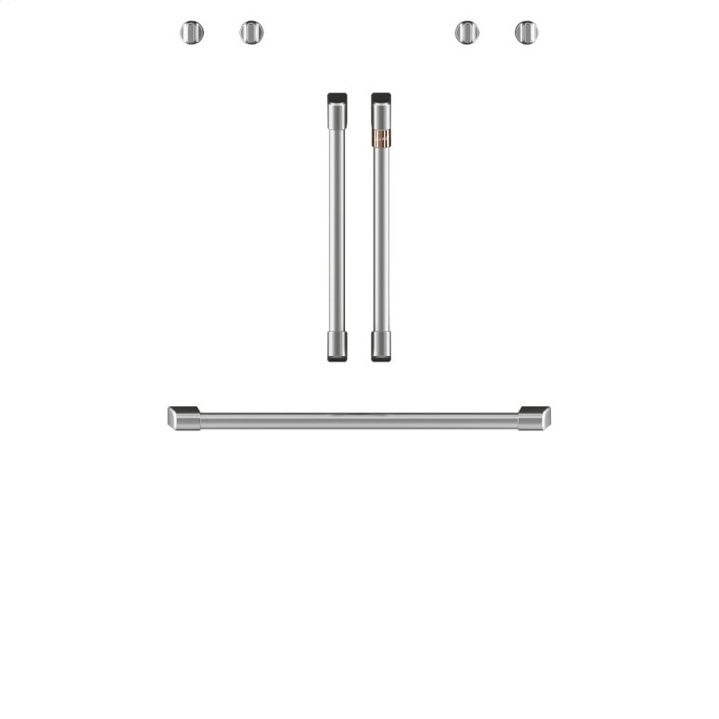 """Caf(eback) 2 French-Door Handles; 1 - 30"""" Handle; 4 Knobs - Brushed Stainless"""