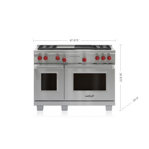 "Wolf  48"" Dual Fuel Range - 4 Burners, Infrared Charbroiler and Infrared Griddle"