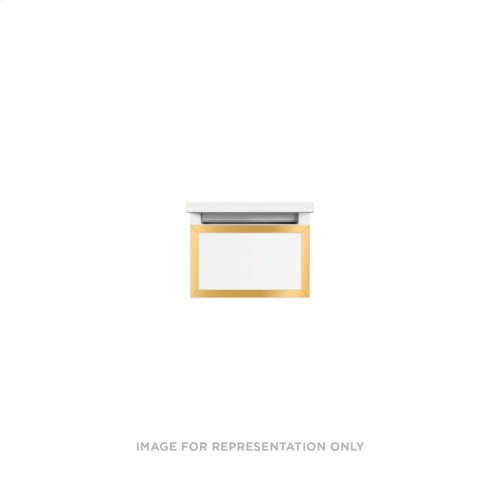 """Profiles 12-1/8"""" X 7-1/2"""" X 21-3/4"""" Framed Slim Drawer Vanity In Mirror With Matte Gold Finish and Slow-close Full Drawer"""