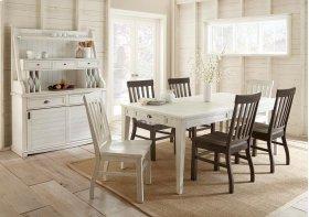 "Cayla Table, White 40""x64""x80"" w/16"" Leaf"