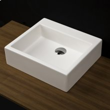 """Vessel white solid surface washbasin with overflow, finished back. 17""""W x 15""""D x 6""""H. Available in none, one, or three faucet holes in 8"""" spread."""