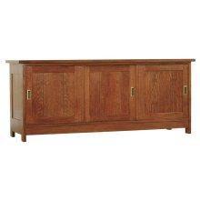 Wood Glass Wood Sliding Door TV Console