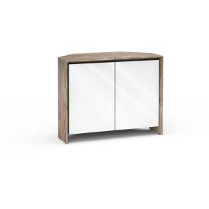 Salamander DesignsBarcelona 323, Twin-Width Corner Cabinet, Natural Walnut with White Gloss Doors