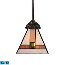 Mix-N-Match 1-Light Mini Pendant in Tiffany Bronze with Tiffany Style Glass - Includes LED Bulb