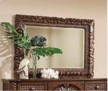 Carved Landscape Mirror - Coco Brown Finish