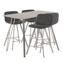 Sedona 5-piece Counter Set - Brushed Antique Metal, Dark Brown Wood, Black Fabric