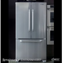 """Renaissance 36"""" Freestanding Curved French Door Refrigerator, in Stainless Steel"""