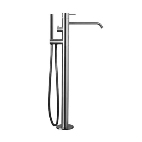 "INOX stainless steel floor-mount single-lever tubfiller with handshower 33 1/2"" H, Satin finish"