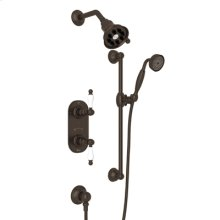 Tuscan Brass Arcana Thermostatic Shower Package with Arcana Ornate Metal Lever