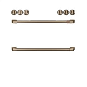 Café Front Control Electric Knobs and Handles - Brushed Bronze