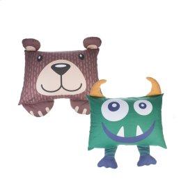 4 pc. ppk. Bear & Snuggle Monster Shaped Pillow Cases.