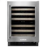 """24"""" Wine Cellar With Glass Door And Wood-Front Racks Stainless Steel"""
