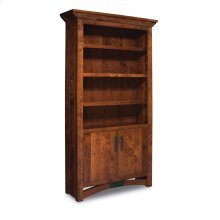 B&O Railroade Trestle Bridge Bookcase, Wood Doors on Bottom, B&O Railroade Trestle Bridge Bookcase, Wood Doors on Bottom, 4-Adjustable Shelves