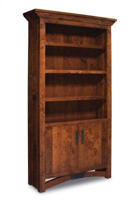 B&O Railroade Trestle Bridge Bookcase, Wood Doors on Bottom, B&O Railroade Trestle Bridge Bookcase, Wood Doors on Bottom, 4-Adjustable Shelves