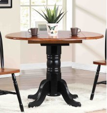 RED HOT BUY-BE HAPPY! Sunset Trading Round Drop Leaf Dining Table in Antique Black with Cherry Finish Top