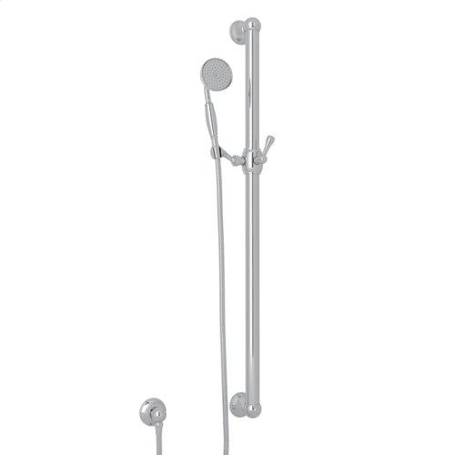"Polished Chrome 36"" Decorative Grab Bar Set With Single-Function Anti-Cal Handshower/Hose/Outlet"