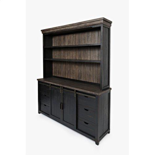 """Madison County 70"""" Barndoor Hutch Server - Vintage Black"""