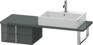 Vero Low Cabinet For Console Compact, Dolomiti Grey High Gloss Lacquer