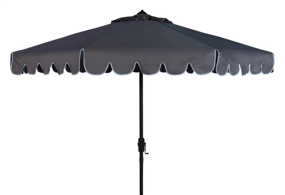 Venice Single Scallop 9ft Crank Outdoor Auto Tilt Umbrella - Taupe / White