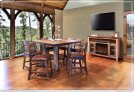 52in Counter Height Dining Table, Solid Wood w/iron mesh shelf Product Image