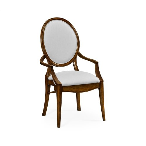 Stacking Spoon Back Walnut Dining Armchair, Upholstered in COM