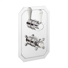 Belgravia 1000 Thermostatic Valve Trim With Single Integrated Volume Control and White Lever Handle - Polished Chrome