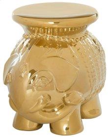 Gold Glazed Ceramic Elephant Stool - Gold