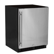 "Marvel 24"" ADA Height All Refrigerator with Door Storage - Solid Stainless Steel Door with Lock - Left Hinge"