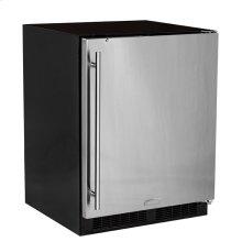 """Marvel 24"""" ADA Height All Refrigerator with Door Storage - Black Door with Lock - Left Hinge"""