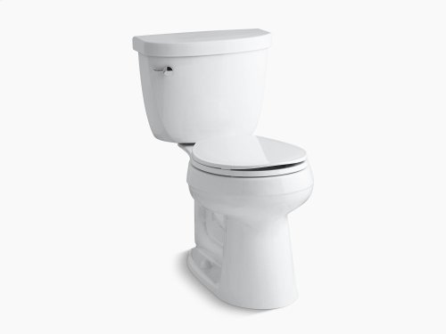 White Comfort Height Two-piece Round-front 1.6 Gpf Toilet With Aquapiston Flush Technology and Left-hand Trip Lever