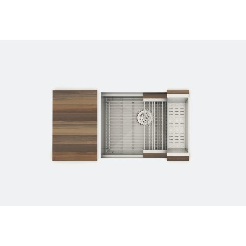 "SmartStation 005458 - undermount stainless steel Kitchen sink , 24"" × 18 1/8"" × 10"" (Walnut)"