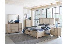 Queen Bed Platform Bed with Footboard Storage