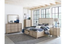 Queen Bed Platform Bed with Footboard Storage