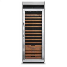 "Stainless Steel 30"" Full-Height Wine Cellar - DDWB (Right Hinge Clear Door, Designer handle)"