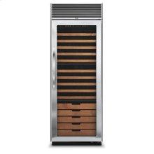 "Stainless Steel 30"" Full-Height Wine Cellar - DDWB (Right Hinge Clear Door, Designer handle)"