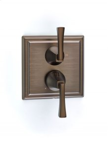 Leyden Dual-control Thermostatic Valve with Volume Control Trim with Lever Handles - Bronze