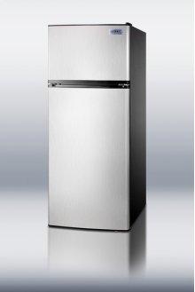 "Frost-free ADA compliant refrigerator-freezer with stainless steel doors in slim 24"" width"