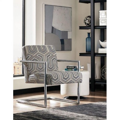 Modern Blue-tone and Chrome Accent Chair