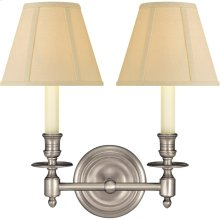 Visual Comfort S2112AN-T Studio French Library 2 Light 13 inch Antique Nickel Decorative Wall Light in Tissue Silk