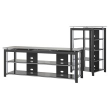 Midnight Mist TV Stand and Audio Tower - Textured Black Paint