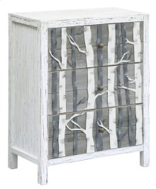White Mountain Metal Birch Tree 3 Drawer White and Grey Wood Chest