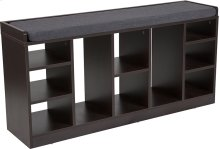 Turin Charcoal Wood Finish Storage Bench with Cushion