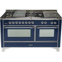 Midnight Blue with Chrome trim - Majestic 60-inch Range with Griddle