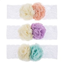 12 pc. ppk. Baby Double Flower Lace Headband