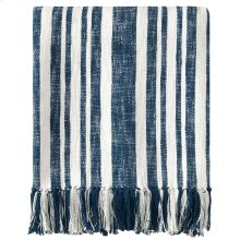 Denim Stripe Throw, NAVY, THRW