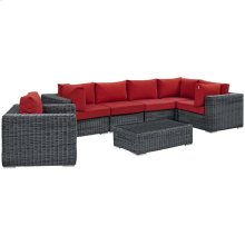 Summon 7 Piece Outdoor Patio Sunbrella® Sectional Set in Canvas Red